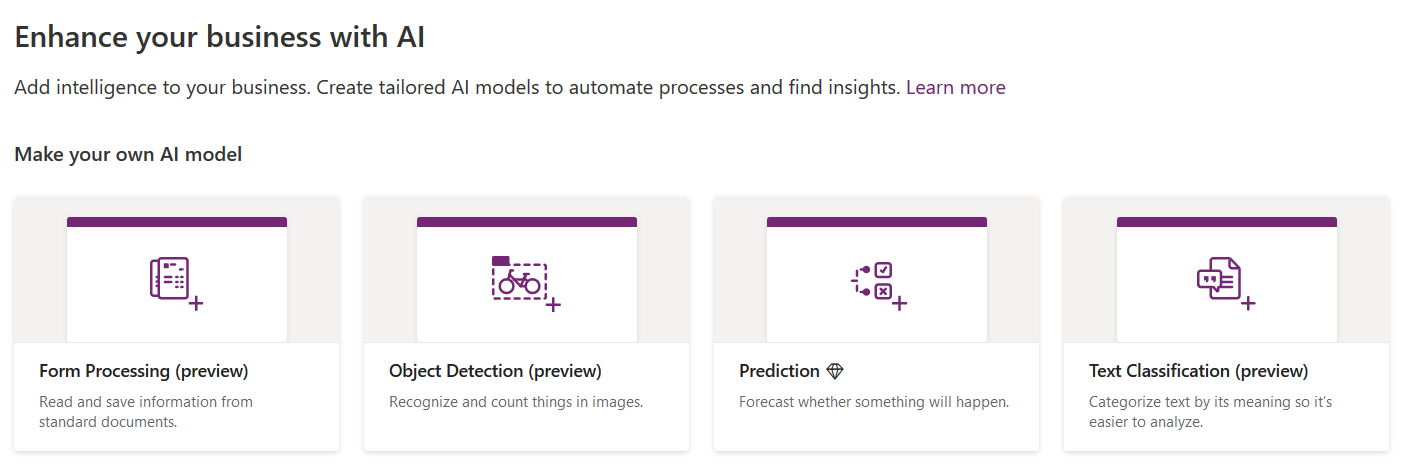 PowerApps AI funktsionaalsus